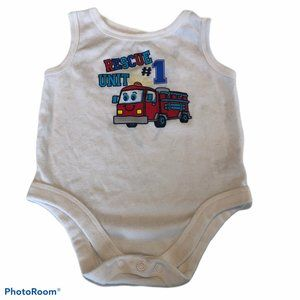 Garanimals Fire Truck Sleeveless Bodysuit 0-3 Mont